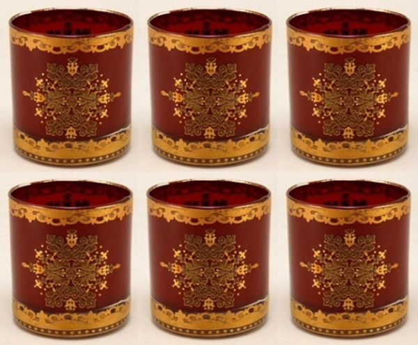 "Picture of Votive Candle Holder Red Glass with Gold Print Cylinder Set of 6 |2.75""Dx3""H