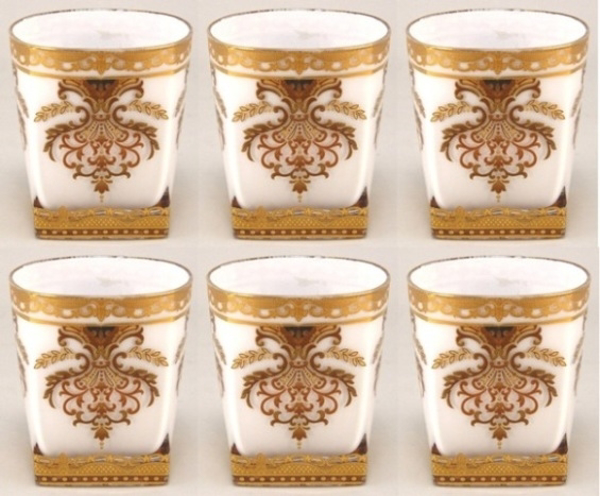 """Picture of Votive Candle Holder White Glass with Gold Print Square Base Set of 6  3""""Dx3.5""""H   Item No. 20711"""