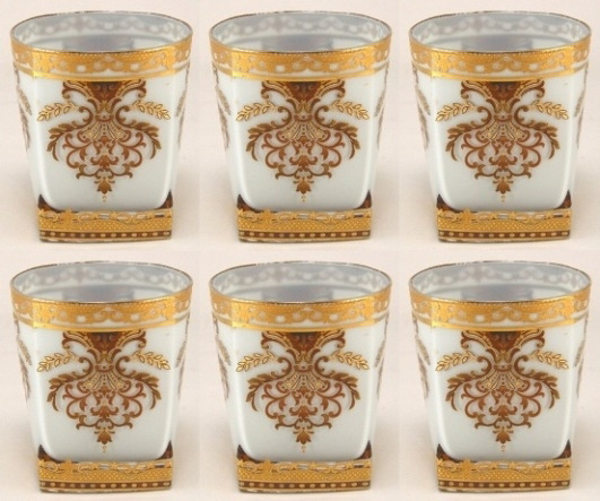 """Picture of Votive Candle Holder Light Blue Glass with Gold Print Square Base Set of 6 