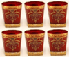 """Picture of Votive Candle Holder Red Glass with Gold Print Square Base Set of 6  3""""Dx3.5""""H  Item No. 20731"""