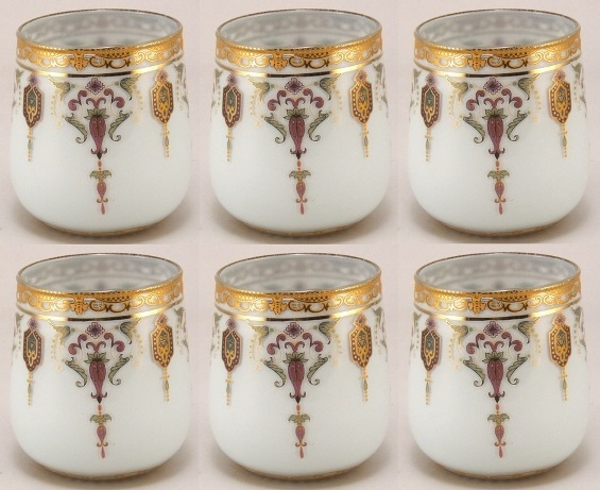 "Picture of Votive Candle Holder Light Blue Glass with Gold Print Oval Set of 6 |3""Dx3.5""H