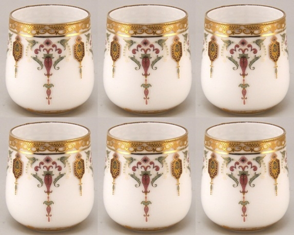 """Picture of Votive Candle Holder White Glass with Gold Print Oval Set of 6 
