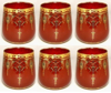 "Picture of Votive Candle Holder Red Glass with Gold Print Oval Set of 6 |3""Dx3.5""H
