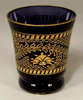 """Picture of Votive Candle Holder Black Glass with Gold Print Ring Base Set of 4  