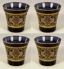 """Picture of Votive Candle Holder Black Glass with Gold Print Flared Set of 4   3""""Dx3.5""""H   Item No. 73217"""