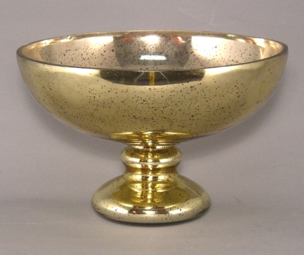 """Picture of Gold Bowl Mercury Glass Dry Flower Arrangement Smooth Finish 