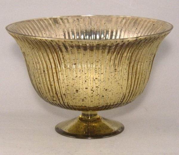 "Picture of Gold Bowl Mercury Glass Dry Flower Arrangement Lines | 10""Dx6.5""H 