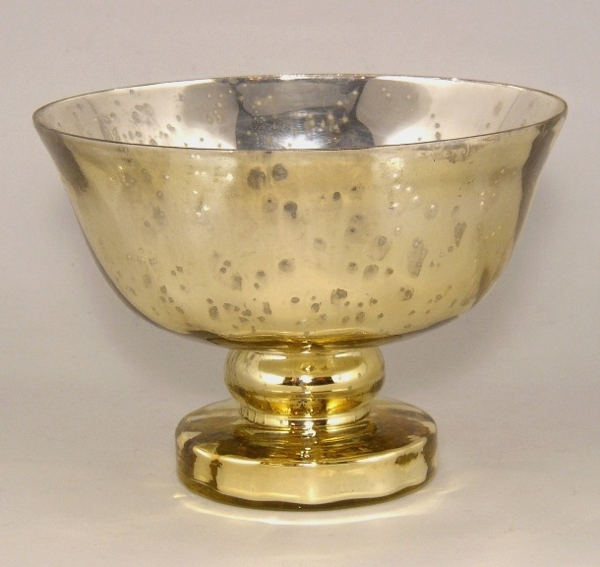 """Picture of Gold Bowl Mercury Glass Dry Flower Arrangement  Smooth with Flared Rim 