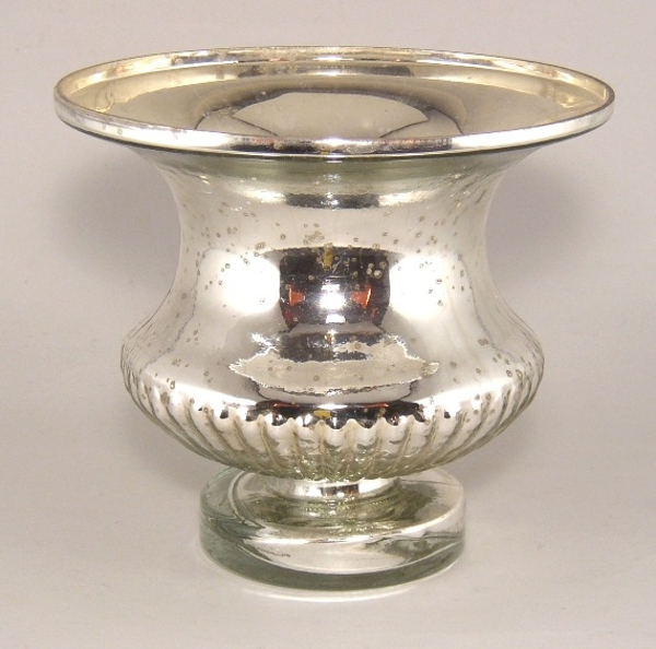 """Picture of Silver Bowl Mercury Glass Dry Flower Arrangement Urn Shaped 