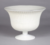 """Picture of White Bowl Glass Fluted Lines on Pedestal Base  