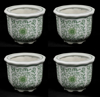 """Picture of Green Floral Print on White Ceramic Planter Round Set/4  