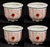 "Picture of Red Floral Print on White Ceramic Planter Round Set/4  | 4""Dx3""H 