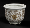 """Picture of Brown Floral Print on White Ceramic Planter Round Set/4    4""""Dx3""""H    Item No. 71501"""