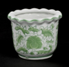 """Picture of Green Floral Print on White Ceramic Planter Round  Wavy Top Set/4  