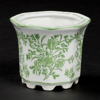 """Picture of Green Floral Print on White Ceramic Planter Hexagonal Set/4  
