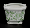 """Picture of Green Floral Print on White Ceramic Planter Square Set/4    4""""Wx3""""H    Item No. 71304"""