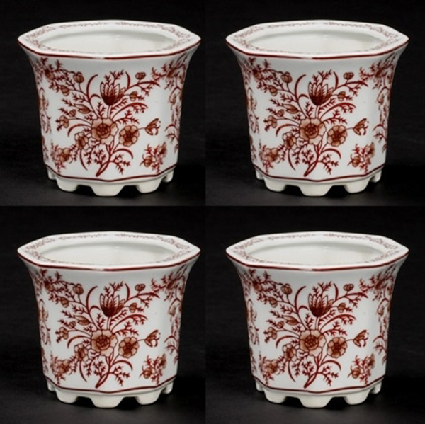 "Picture of Red Floral Print on White Ceramic Planter Hexagonal Set/4  | 4""Dx3.5""H 