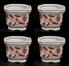 """Picture of Red Floral Print on White Ceramic Planter Square Set/4    4""""Wx3""""H    Item No. 71404"""