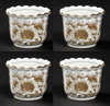 """Picture of Brown Floral Print on White Ceramic Planter Round  Wavy Top Set/4  