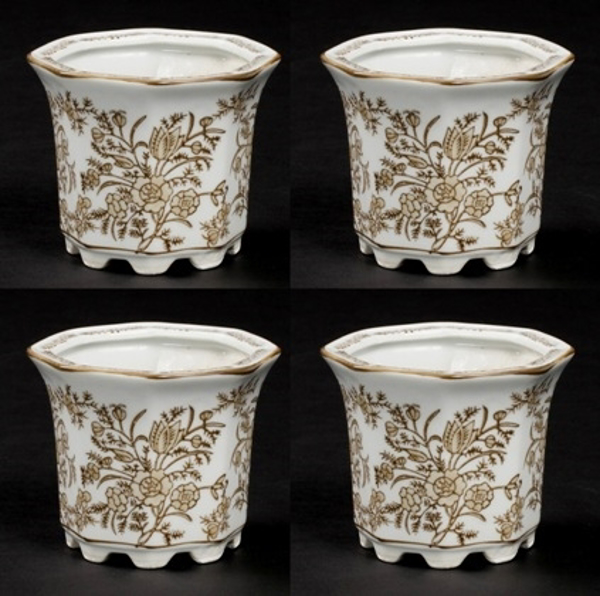 """Picture of Brown Floral Print on White Ceramic Planter Hexagonal Set/4    4""""Dx3.5""""H    Item No. 71503"""
