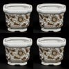 """Picture of Brown Floral Print on White Ceramic Planter Square Set/4    4""""Wx3""""H    Item No. 71504"""
