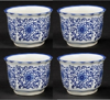 "Picture of Blue Floral Print on White Ceramic Planter Round Scalloped Rim Set/4  | 5""Dx3.5""H |  Item No. 71206"