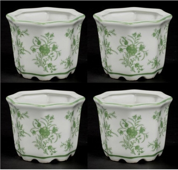 """Picture of Green Floral Print on White Ceramic Planter Octagonal Set/4    5""""Wx3.75""""H    Item No. 71305"""