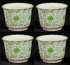 """Picture of Green Floral Print on White Ceramic Planter Round Scalloped Rim Set/4  