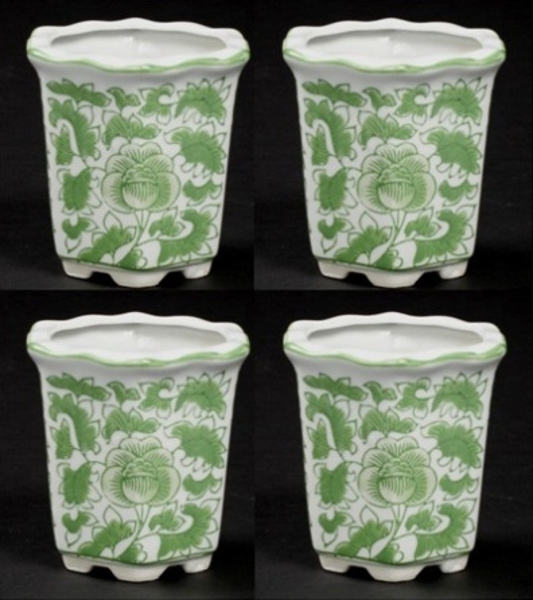 """Picture of Green Floral Print on White Ceramic Planter Hexagonal Wavy Top Set/4  