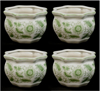 """Picture of Green Floral Print on White Ceramic Planter Octagonal Set/4  
