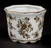 """Picture of Brown Floral Print on White Ceramic Planter Octagonal Set/4  