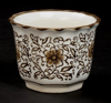 """Picture of Brown Floral Print on White Ceramic Planter Round Scalloped Rim Set/4  