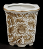 """Picture of Brown Floral Print on White Ceramic Planter Hexagonal Wavy Top Set/4  