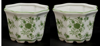 """Picture of Green Floral Print on White Ceramic Planter Octagonal Set/2  
