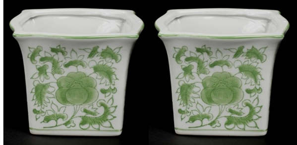 "Picture of Green Floral Print on White Ceramic Planter Square Set/2  | 5.75""Wx4.5""H 