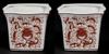 """Picture of Red Floral Print on White Ceramic Planter Square Set/2    5.75""""Wx4.5""""H    Item No. 71410"""
