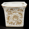 """Picture of Brown Floral Print on White Ceramic Planter Square Set/2  
