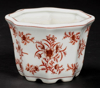 "Picture of Red Floral Print on White Ceramic Planter Octagonal Set/2  | 6""Wx4""H 