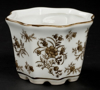"""Picture of Brown Floral Print on White Ceramic Planter Octagonal Set/2  