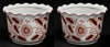 """Picture of Red Floral Print on White Ceramic Planter Round Wavy Top Set/2  