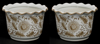 """Picture of Brown Floral Print on White Ceramic Planter Round Wavy Top Set/2  
