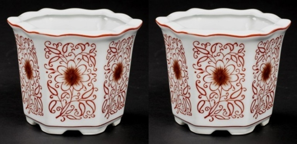 """Picture of Red Floral Print on White Ceramic Planter Hexagonal  Set/2  
