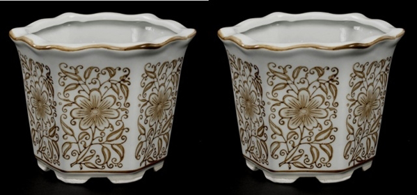 "Picture of Brown Floral Print on White Ceramic Planter Hexagonal  Set/2  | 6""Wx4.75""H 