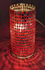 """Picture of Red Vase Mosaic Glass Cylinder with Diamond Shape Red & Mirror Chips Set/2 