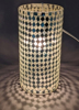 "Picture of Silver Vase Mosaic Glass Cylinder with Diamond Shape Clear & Mirror Chips Set/2 | 4""Dx8""H 