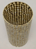 """Picture of Gold Vase Mosaic Glass Cylinder with Diamond Shape Gold & Mirror Chips   5""""Dx10""""H   Item No. 46213"""