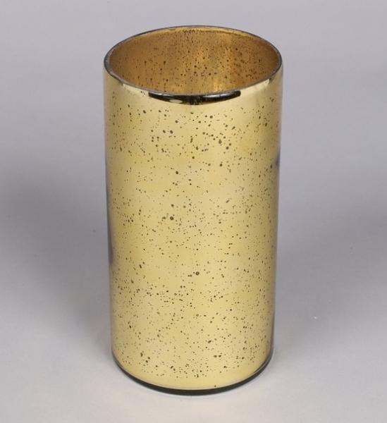 "Picture of Gold Mercury Glass  Cylinder Vase Dry Arrangement  | 5""Dx10""H |  Item No. 16009"