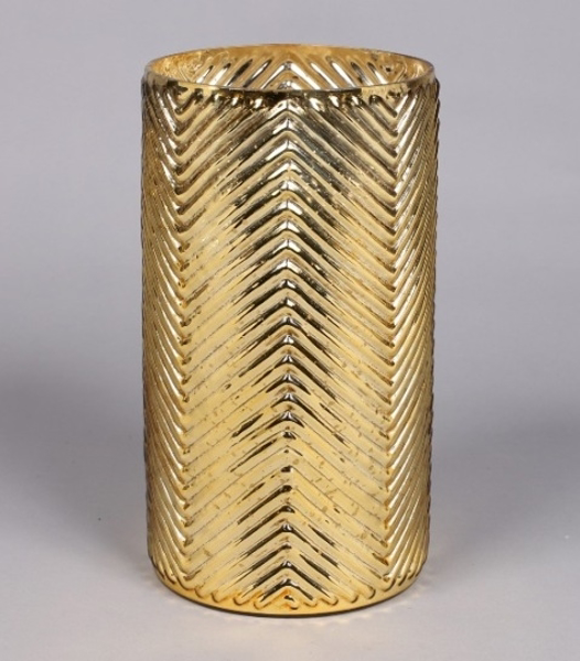 """Picture of Gold Mercury Glass Cylinder Vase with Lines  