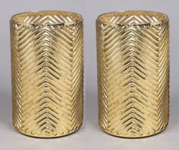 """Picture of Gold Mercury Glass Cylinder Vase with Lines Set/2  