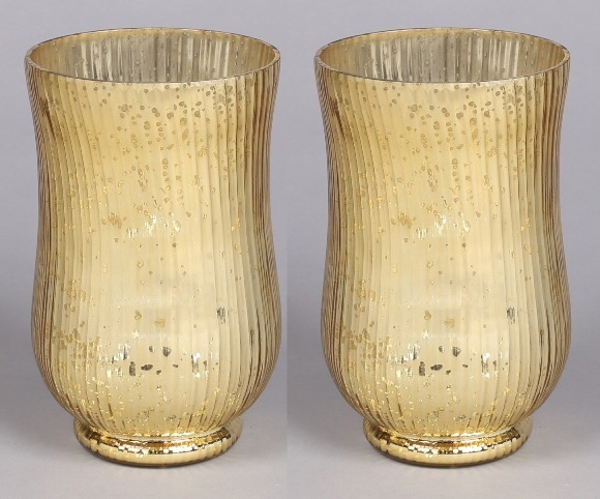 """Picture of Gold Mercury Glass Hurricane Vase with Lines Set/2  